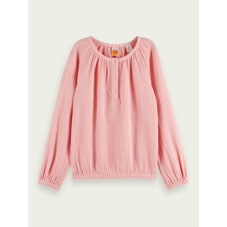 cotton wider fit top with half placket