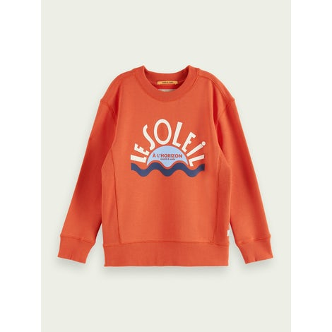 crew neck sweat with chest artwork Kleding Sweaters